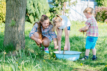 Group of three enthusiastic children enjoying and playing with raw fish in basin outdoor in sunny summer day. Childhood, friendship and adventure concept. Cheerful fuss.