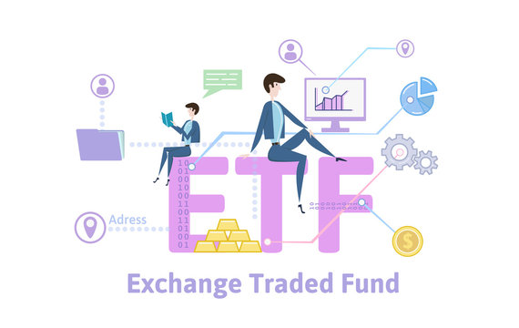 ETF, Exchange Traded Funds. Concept with keywords, letters and icons. Colored flat vector illustration on white background.