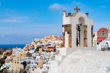 Beautiful Panorama of Santorini (Oia) with blue skies