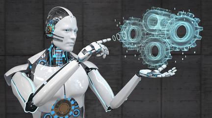 White Robot Gear Wheels Engine