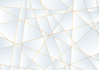 Light blue abstract polygonal background with golden lines