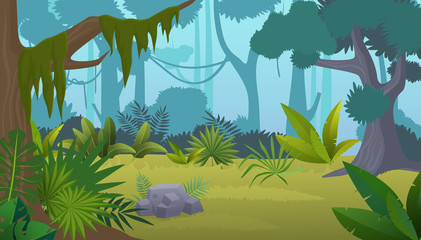 Vector cartoon empty tropical rainforest Jungle background.