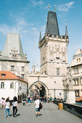 People and tourists on the Charles bridge - Little Tower - Prague