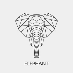 Abstract polygonal head of a elephant. Geometric line African animal. Vector illustration.