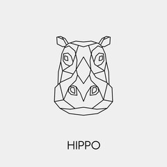 Abstract polygonal head of a Hippo. Geometric linear African animal. Vector illustration.