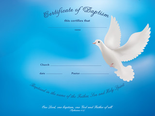 Certificate baptism template with dove on blue background