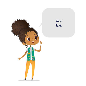 Young smiling African American girl scout dressed in uniform with badges and patches and speech bubble with place for text isolated on white background. Female scouter, member of troop, speaker.