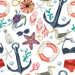 Watercolor painting seamless pattern with anchor, seafish, lifebuoy, Jackdaw bird