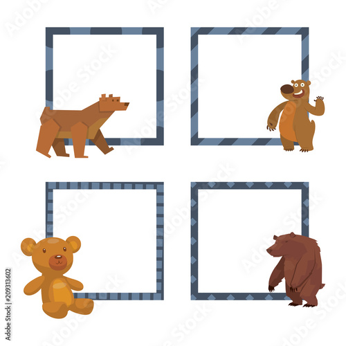 Bear animal vector frames mammal teddy grizzly funny happy cartoon ...