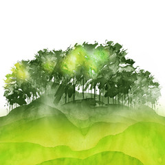 Watercolor autumn, summer forest, silhouette of trees, bushes. Field. Country view. Postcard, logo, card. Drawing of green, yellow trees on a green grass on a white isolated background.