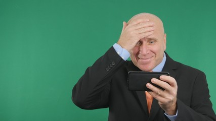 Confident Businessman Image Read Cell Phone Good Financial News Gesturing Happy