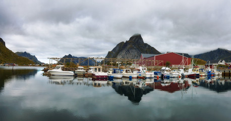 Wall Mural - Fishing boats at the port of Reine village on Lofoten islands in Norway