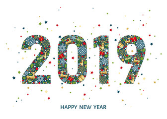 2019 Happy New Year greeting card on white  background.
