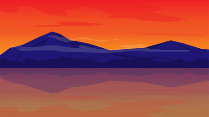 orange sky in evening with mountain landscape background;beautiful place in evening;landscape vector design