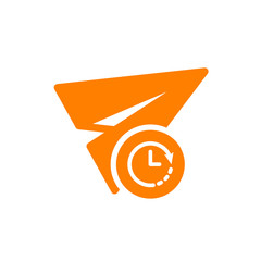 Paper plane icon, other icon with clock sign. Paper plane icon and countdown, deadline, schedule, planning symbol