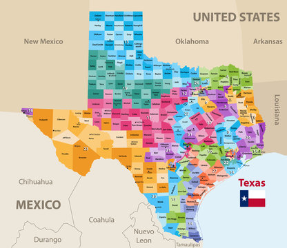 vector map of Texas's congressional districts. High detailed political map of Texas showing counties formations