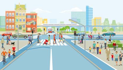 Straßenkreuzung mit Fußgänger und  Autoverkehr, Illustration