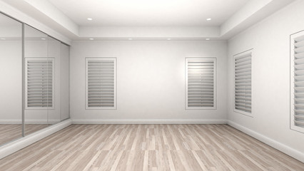 Empty Room Interior wooden floor modern and luxury style. 3d Render