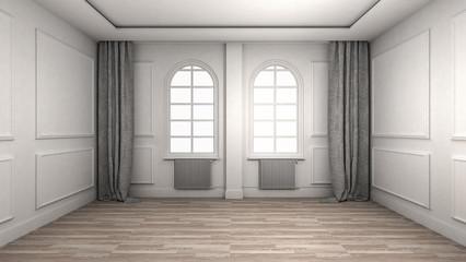 Empty Room Interior wooden floor classic and luxury style. 3d Render