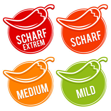 Chili peppers scale mild, medium, hot and hell - German Translation: Chili Schärfe Skala mild, medium, scharf, sehr scharf