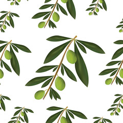 seamless pattern with green olive tree leaves and olives