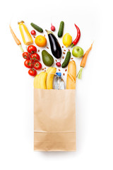 Image of paper bag with vegetables and fruits isolated