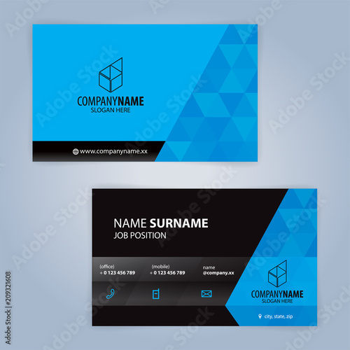 business card template blue and black illustration vector10