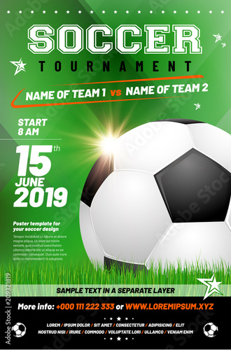Soccer Tournament Poster Template With Sample Text In Separate Layer
