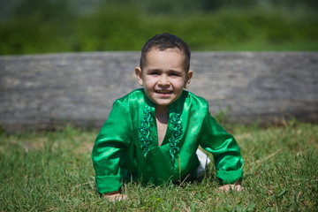 Little boy child dressed in the clothing culture of India.