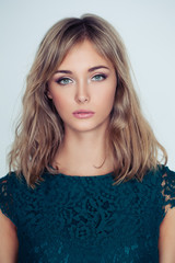 Pretty young woman face, closeup portrait