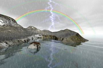 Rainbow, an autumn landscape, rain and lightning, rocks and stones and a cloudy sky.
