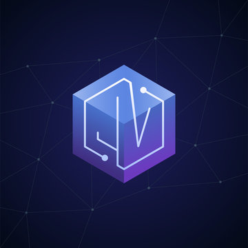 Initial letter JV, block chain, looping mono line circuit letter on hexagon cube logo, blue magenta gradient color on black blue network background