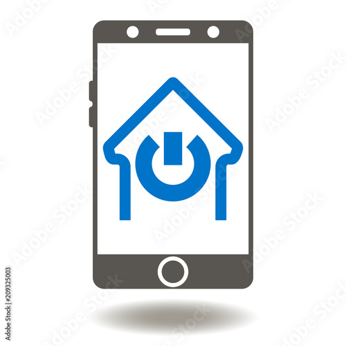 Smartphone House Power Switch Button Icon Vector Smart Home Mobile