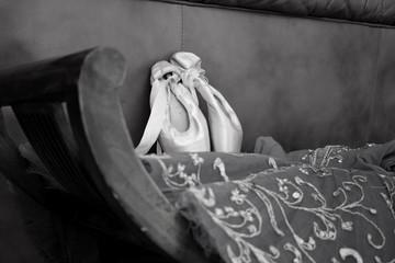Black-and-white photo of ballroom accessories ballroom pointe and tutu