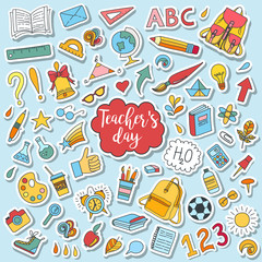 School and education doodles hand drawn vector symbols and objects