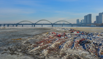 Harbin cityscape with ice river