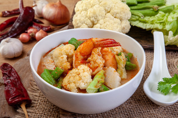 Sour Curry with Vegetable and shrimp.