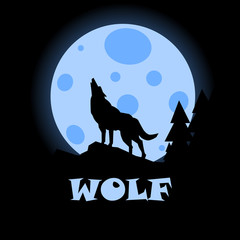 Silhouette of wolf howling at the full moon vector illustration. Pagan totem, wiccan familiar spirit art. Night forest