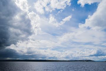 Cloudy sky above river Volga near Kazan, Russia