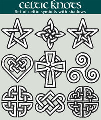Set of celtic symbols with shadows. 9 symbols made with Celtic knots for use in tattoos or designs.