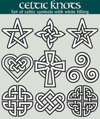 Set of celtic symbols with fill. 9 symbols made with Celtic knots for use in tattoos or designs.