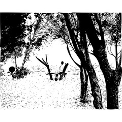 boy on a bench in the forest