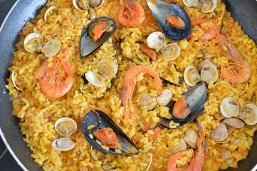 freshly cooked paella