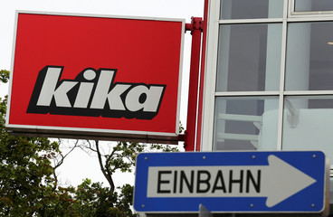 A traffic sign is seen in front of a Kika/Leiner store in Vienna