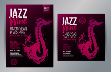 Brochure design template with hand drawing saxophone and wine stains. Music and wine concept. Fotomurales