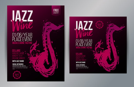 Brochure design template with hand drawing saxophone and wine stains. Music and wine concept.