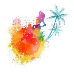 Summer party watercolor background