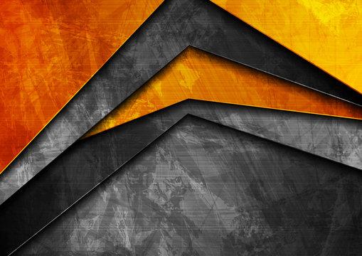 Grunge tech material orange and dark grey background