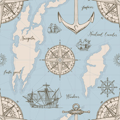 Vector abstract seamless background on the theme of travel, adventure and discovery. Old map with caravels, vintage sailing yachts, wind roses, anchors and handwritten inscriptions in retro style