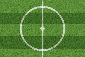 top view of center circle on grass soccer field
